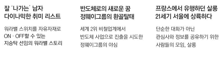 잘 나가는 남자 다이나믹한 취미 리스트, 반도체로의 새로운 꿈 정웨이그룹의 환골탈태, 프랑스에서 유행하던 샬롱 21세기 서울에 상륙하다