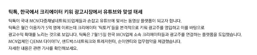 틱톡, 한국에서 크리에이터 키워 광고시장에서 유튜브와 맞설 태세