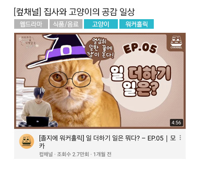 [컾채널] 집사와 고양이의 공감 일상 웹드라마, 식품/음료 #고양이 #워커홀릭