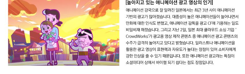 [높아지고 있는 애니메이션 광고 영상의 인기]